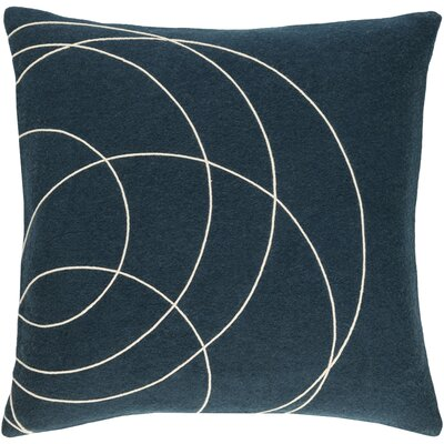 Bold Wool Throw Pillow Size: 18 H x 18 W x 4 D, Color: Dark Blue/Cream