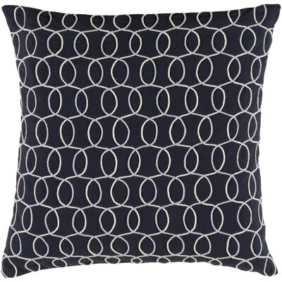 Solid Bold II Cotton Lumbar Pillow Color: Blue/Cream, Size: 13 H x 19 W x 4 D, Fill Material: Down