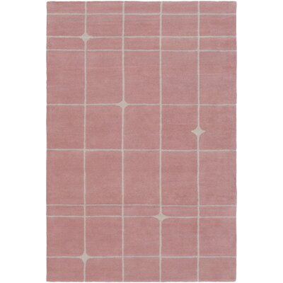 Mod Pop Hand-Tufted Gray/ Blush Red Area Rug Rug Size: 4 x 6