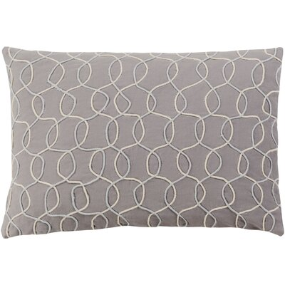 Solid Bold II Cotton Lumbar Pillow Color: Medium Gray/Cream