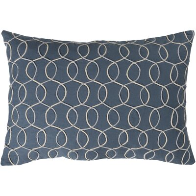Solid Bold II Cotton Lumbar Pillow Color: Blue/Cream