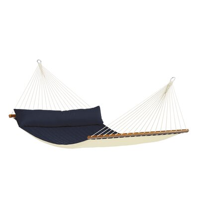 ALABAMA Weatherproof Kingsize Spreader Bar Rope Olefin Tree Hammock Color: Navy Blue
