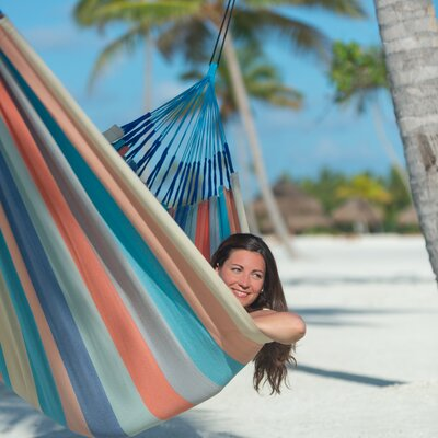 DOMINGO Weatherproof Family Olefin Tree Hammock Color: Coral/Multi