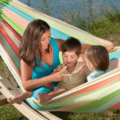 DOMINGO Weatherproof Family Olefin Tree Hammock Color: Coral