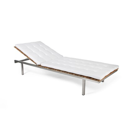 Haringe Outdoor Chaise Lounge Cushion Fabric: White Leather