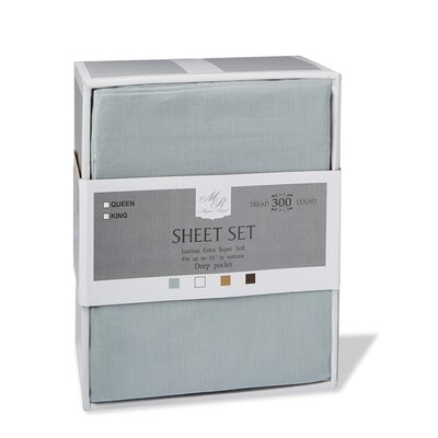 300 Thread Count Cotton Sheet Set Size: King, Color: Silver