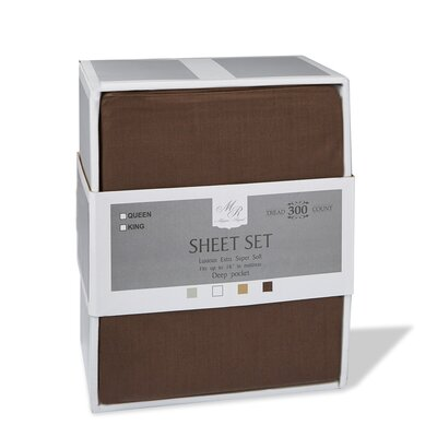 300 Thread Count Cotton Sheet Set Size: Queen, Color: Brown