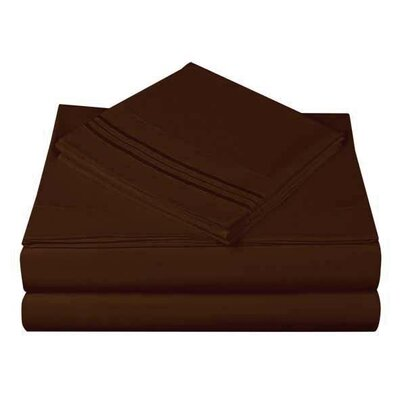 1800 Series Collection 4 Piece Sheet Set Color: Mocha, Size: Queen