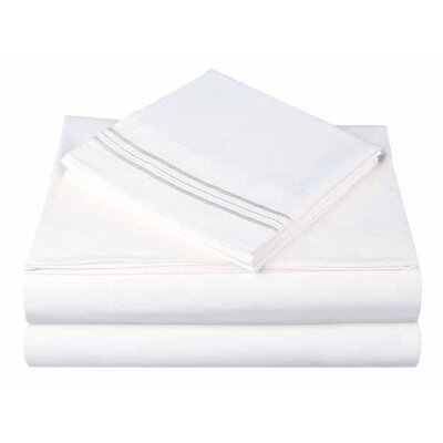 1800 Series Collection 4 Piece Sheet Set Color: Megan White, Size: Queen