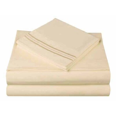 1800 Series Collection 4 Piece Sheet Set Color: Butter Milk, Size: Full