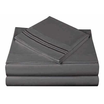 1800 Series Collection 4 Piece Sheet Set Color: Slate, Size: King