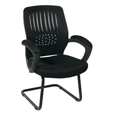 Screen Back Contour Shell Sled Base Leather Guest Chair Padded Arms Seat 371 Image