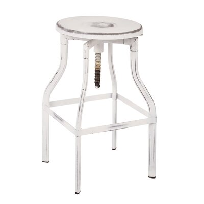 Eastvale Adjustable Height Swivel Bar Stool Finish: Antique White