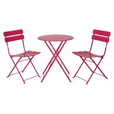 3 Piece Bistro Set Finish: Rose Red