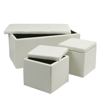 3 Piece Storage Ottoman Set Upholstery: White