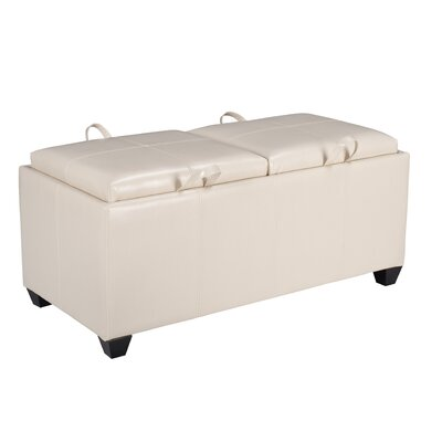 Metro Collection Vinyl Storage Bench with Dual Trays Color: Cream