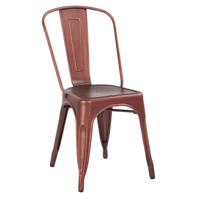 Krishtha Armless Dining Chair Color: Brushed Red Copper
