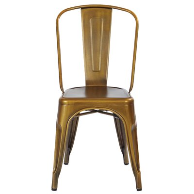Krishtha Armless Metal Dining Chair Color: Brushed Copper