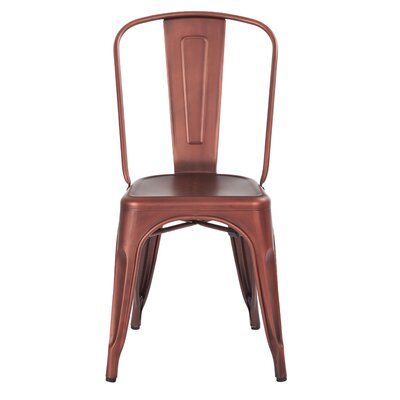 Krishtha Armless Metal Dining Chair Color: Brushed Red Copper