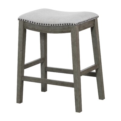Clewiston Counter Saddle 24.75 Bar Stool Color: Antique Gray, Upholstery: Gray