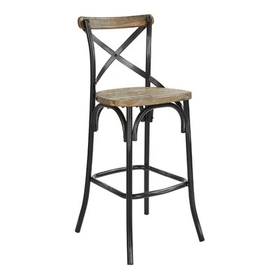 Provenzano 30 Bar Stool Color: Antique Black/Walnut