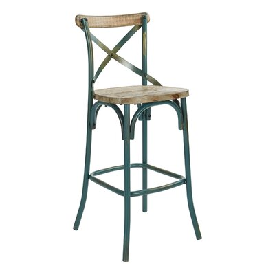 Provenzano 30 Bar Stool Color: Antique Turquoise/Walnut