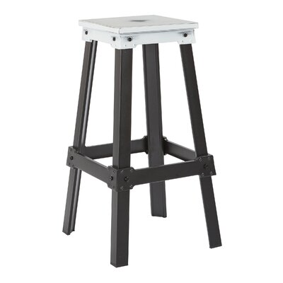 Difranco 29.75 Bar Stool Seat Finish / Base Finish: Antique White / Frosted Black