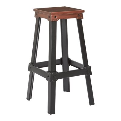 Difranco 29.75 Bar Stool Seat Finish / Base Finish: Red Copper / Frosted Black