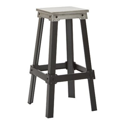 Difranco 29.75 Bar Stool Seat Finish / Base Finish: Brushed Silver / Frosted Black