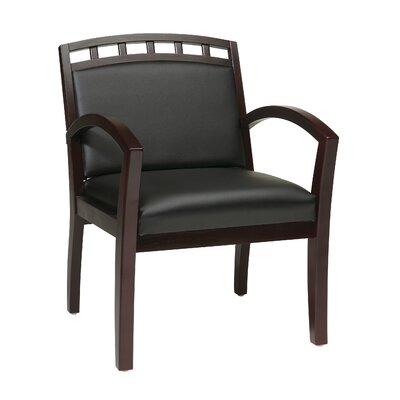 Leg Chair with Black Faux Leather Seat and Wood Crown Back Finish: Mahogany
