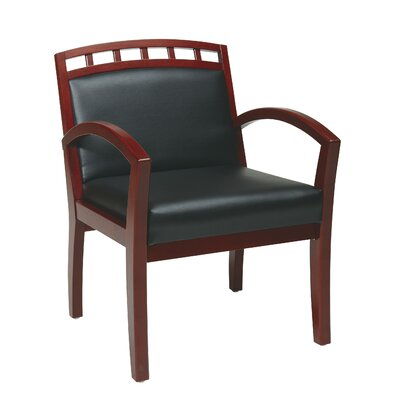 Leg Chair with Black Faux Leather Seat and Wood Crown Back Finish: Cherry