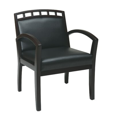Leg Chair with Black Faux Leather Seat and Wood Crown Back Finish: Espresso