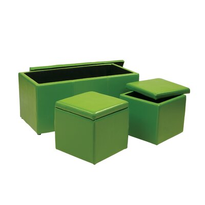 Elverton 3 Piece Storage Ottoman Set Upholstery: Green