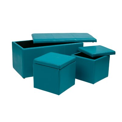 Elverton 3 Piece Storage Ottoman Set Upholstery: Blue
