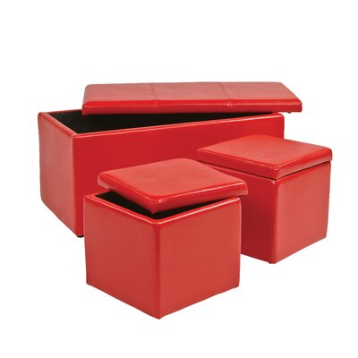 3 Piece Storage Ottoman Set Upholstery: Red