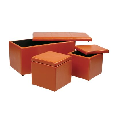 3 Piece Storage Ottoman Set Upholstery: Orange