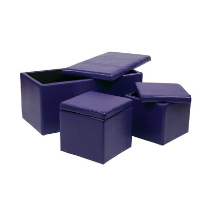 3 Piece Storage Ottoman Set Upholstery: Purple