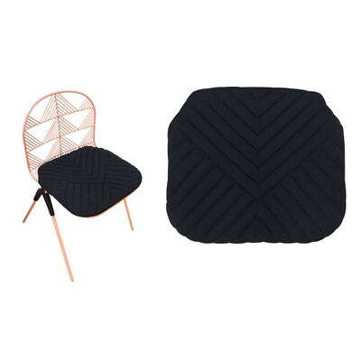 Betty Stacking Sunbrella Dining Chair Cushion (Set of 2) Fabric: Black