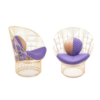 Peacock Lounge Chair Cushion Fabric: Purple/gold