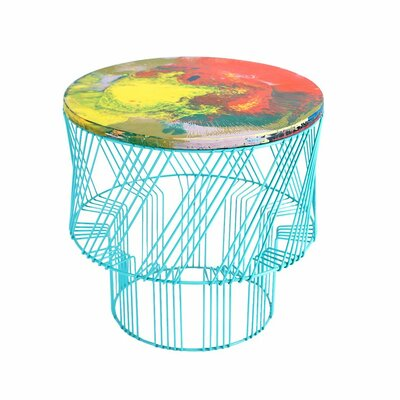 Wax Drum End Table Color: Aqua
