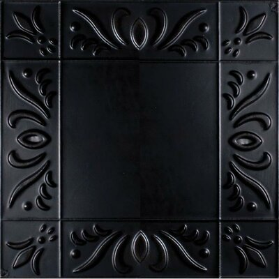 11 x 11 Metal Hand-Painted Tile in Black
