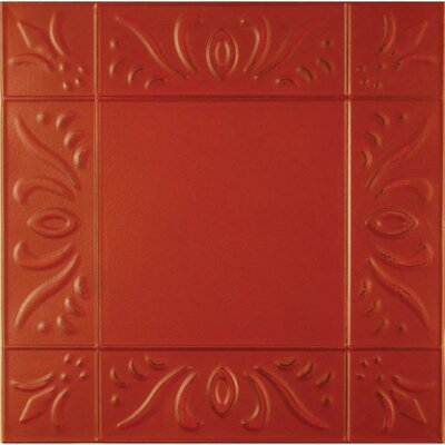 11 x 11 Metal Hand-Painted Tile in Red