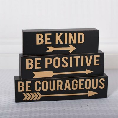Be Kind Brick Wall Décor Set Color: Black / Gold