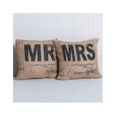 2 Piece Mr Right, Mrs Always Right Burlap Throw Pillow Set