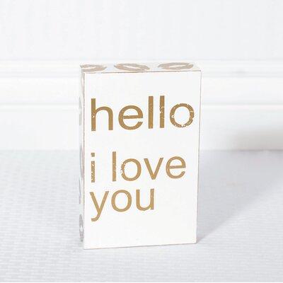 'Hello I Love You' Textual Art on Plaque 18852