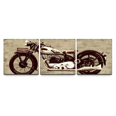 Motorcycle Triptych By Artefx Designs 3 Piece Painting Print On Canvas Set