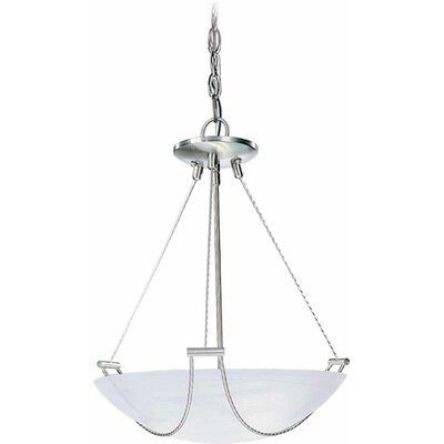 3-Light Bowl Pendant Finish: Brushed Nickel, Size: 21.5 H x 21.75 W x 21.75 D