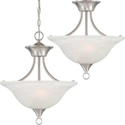 Whetsel 2-Light Pendant or Semi Flush Mount Color: Brushed Nickel
