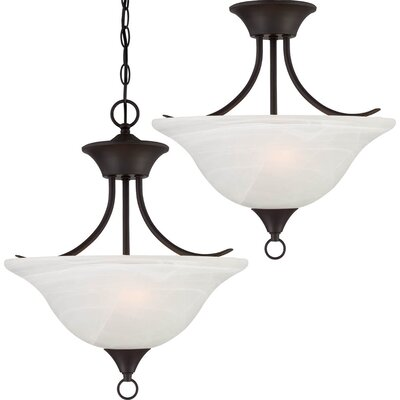 Trinidad 2-Light Pendant or Semi Flush Mount Finish: Antique Bronze