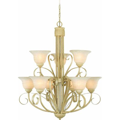 9-Light Shaded Chandelier Finish: Golden Coral